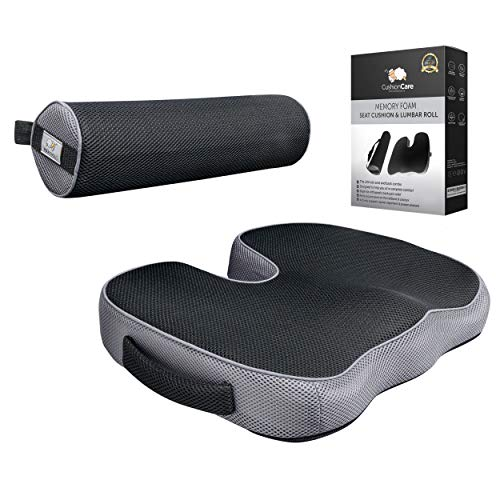 2pc Seat Cushion and Lumbar Roll Combo for Office Chair - Memory Foam 3D Mesh - Pain and Pressure Relief for Lower Back, Sciatica, Coccyx, Butt, Tailbone - Posture Support Pillow for Desk, Car, Wheelchair