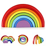 Coogam Wooden Rainbow Stacker Nesting Puzzle Blocks - Tunnel Stacking Game Building Creative Color Shape...