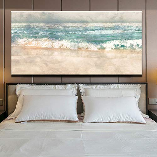 YUANOMWJ Cuadro En Lienzo Pintura,Modern Abstract Beach Surf Landscape,Canvas Painting Wall Art Posters Prints No Frame Pictures Living Room Home Decoration,60X120Cm(24X48Inch)