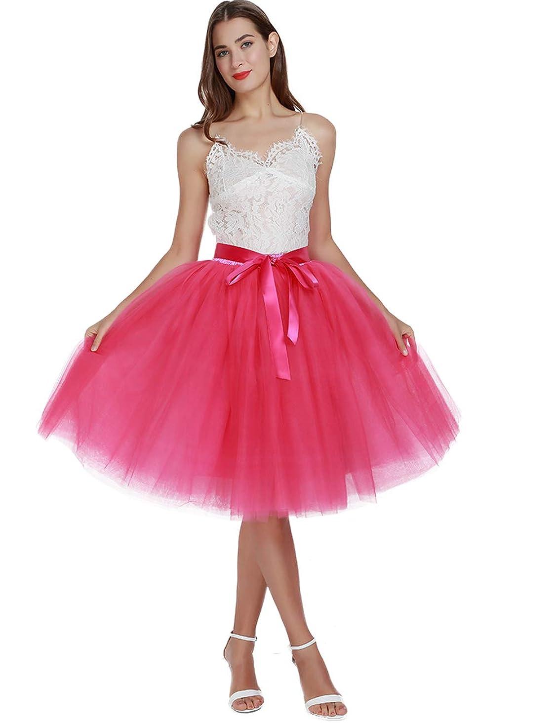 Women's High Waist Pleated Princess A Line Midi/Knee Length Tutu Tulle Skirt for Prom Party