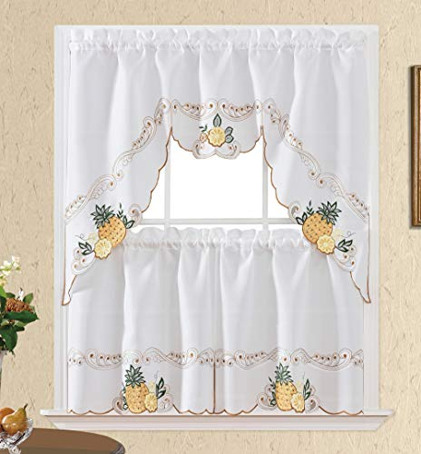 Sweet Harvest. 3pcs Kitchen Cafe Curtain Set. Nice Embroidery Fruit Design with Cutworks. (Swag and 24 inches Tiers Set, Golden Pineapple)