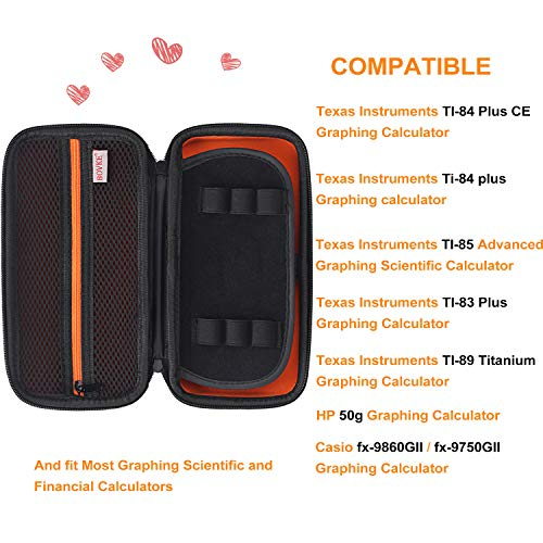 BOVKE Hard PU Graphing Calculator Carrying Case for Texas Instruments TI-84 Plus CE/TI-83 Plus CE/Casio fx-9750GII, Extra Zipped Pocket for USB Cables, Manual, Pencil, Ruler and Other Items, Black Photo #3