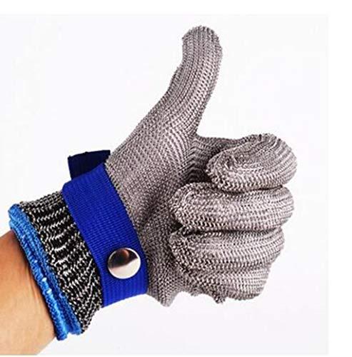 Bescita Schnittschutzhandschuhe Schnittfeste Handschuhe Schnittfeste Handschuhe Kettenhandschuhe aus 100% Edelstahl-Metal Mesh Metzgerhandschuh Schnittfeste Handschuhe (XL, Blau)