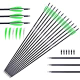 M.A.K 30 Inch 7mm Outer Diameter Carbon Outdoor Archery Practice Hunting Arrows with Removable Tips for...