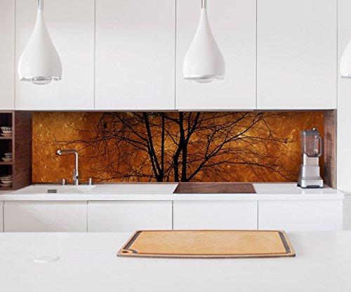 Sticker keuken achterwand volle maan Halloween kale boom maan folie zelfklevende decoratieve folie tegels meubelfolie spatbescherming 22A1167, hoogte x lengte: 70cm x 400cm