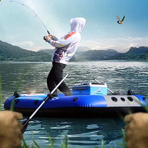 4 Person Inflatable Boat Canoe -【Blue+Gray】9FT Raft Inflatable Kayak with Air Pump Rope Paddle 2 3 or 4 Person Boat for Adults and Kids Portable Fishing Boat