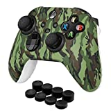 TNP Controller Cover Skin Case + 8 Thumb Grips Set (Green) Compatible with Xbox Series X / S - Soft Anti-slip Silicone Gel & Rubber Stick Caps Accessories for Video Games Gaming Gamepad