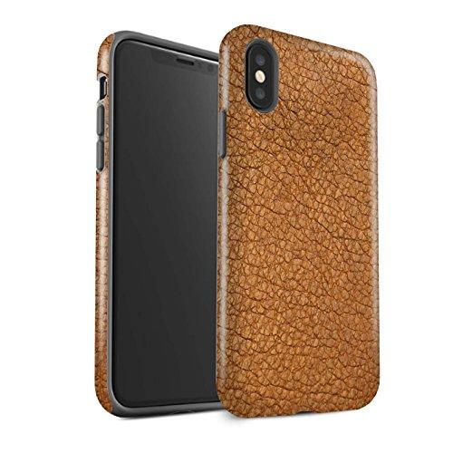 Stuff4® Matte Antiurto Custodia/Cover/Caso/Cassa del Telefono per Apple iPhone XS/Cacao Marrone/Effetto Toppa in Pelle Disegno