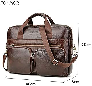 Genuine Leather Briefcase for Men Cowhide Big Totes Handbag Male Brown Business 14'' Laptop Hand Bags with Zipper Pocket (Color : Brown, Size : -)