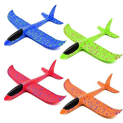 Queta Planos de Espuma, 4pcs Planeadores de Lanzamiento Juguetes de Glider Aviones, Modelo de Avion Lanzamiento de Mano Favores de Fiestas, Deportes al Aire Libre