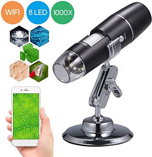 TOYSBBS 50 A 1000 x endoscopio, 8 LED USB 2.0 Digital Microscopio, Mini cámara con OTG Adaptador y Metal Soporte, Compatible con Mac Window 7 8 10 Android Linux