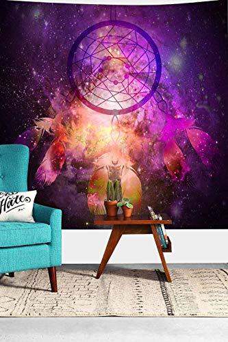 Tapiz de atrapasueños colorido espacio de plumas Galaxy tapices para colgar en la pared para sala de estar dormitorio hogar dormitorio decoración 160x160cm