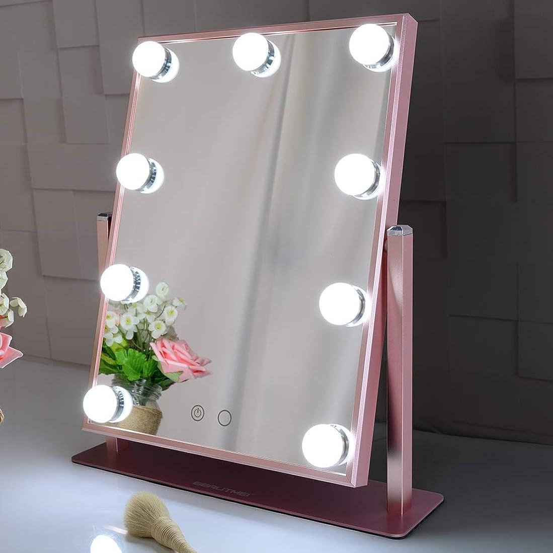 八百屋さんさようなら知覚的Wonstart 化粧鏡 女優ミラー 12個led電球付 2つの色温度 明るさ調整可 ハリウッドミラー 卓上鏡 ledミラー (ピンク)