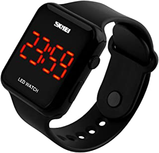 Kids or Adults Fruit Powder led Electronic Sports Watches, Large Screen pu Strap Waterproof Men and Women Students Couple Wristwatch-F