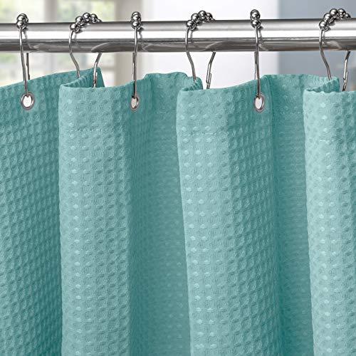 Cortina de ducha para cuarto de baño con ganchos de metal, cortina de ducha de tela waffle, cortina de baño resistente para habitación húmeda, bañera y ducha, 182 x 182cm (turquesa)