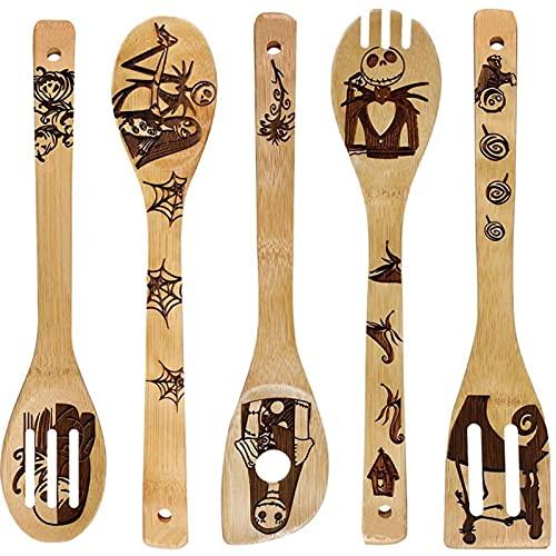 5 palas de wok de madera de bambú de Halloween espátula ranurada cuchara soporte de mezcla utensilios de cocina cena palas suministros (03)