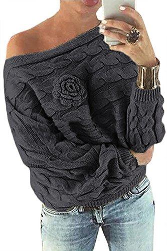 YOINS Schulterfrei Oberteile Damen Herbst Winter Off Shoulder Pullover Pulli für Damen Loose Fit mit Blumenmuster Dunkelgrau M