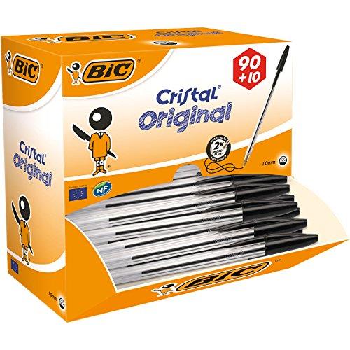 BIC Cristal Original Penne a Sfera, Punta Media (1.00 mm), Nere, Pacco Convenienza da 100 Penne, Fornitura per Ufficio