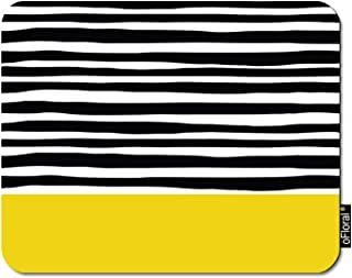oFloral Grunge Stripes Gaming Mouse Pad Black Paint Lines Horizontal Brush Strokes Orange Rectangle Decorative Mousepad Rubber Base Home Decor for Computers Laptop Office Home 7.9X9.5 Inch