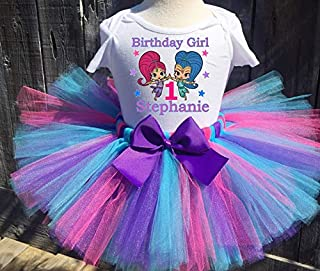 Shimmer And Shine Personalized Birthday Outfit Tutu Set Multicolored