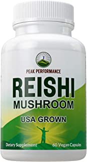 Reishi Mushroom Capsules (USA Grown) by Peak Performance. Naturally Harvested Mushrooms Extract Supplement. Adaptogen, Imm...