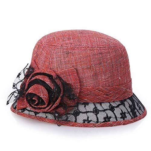 Zomer dame bloem hoed linnen hoed vrouwelijke parasol strand zon vrouwelijke zonnehoed breed floppy (Color : Red, Size : M)