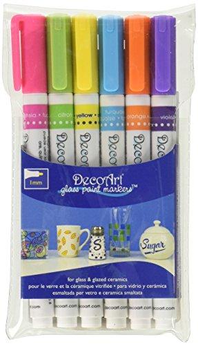 DecoArt 6 Piece 1mm Brights Glass Paint Marker Set