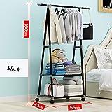 Lvfang - Perchero extraíble para el hogar o el dormitorio, estante de secado de suelo, multifuncional, color negro
