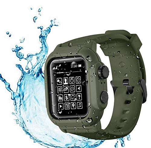 Compatible Apple Watch Series 6 / SE / 5 / 4 Waterproof Case , Tomcrazy IP68 Full Sealed Cover Silicone Sport Watch Strap Band Protector Case for iwatch 44mm (Green)
