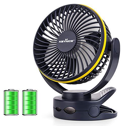 【2020年最新改良版】 KEYNICE usb扇風機 卓上扇風機 クリップ 充電式 ミニ扇風機 超強風 静音 風量4段階調節 360度角度調整 長時間連続使用 LEDライト機能付き ネイビー