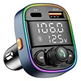 Bluetooth FM Transmitter for Car,Radio Adapter with Dual Screen Display & 7 Color LED Backlit, Music Player Kit with Handsfree Calling, QC3.0 & PD Ports Car Charger, Support TF Card USB Flash Drive