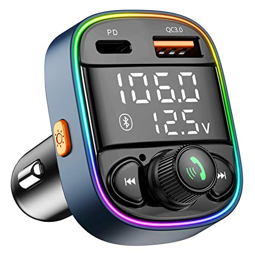 Bluetooth FM Transmitter for Car,Radio AUX Adapter with Dual Screen Display&7 Color Backlit, Music Player Kit with Handsfree Calling, QC3.0 & PD Ports Charger, Support TF Card USB Flash Drive
