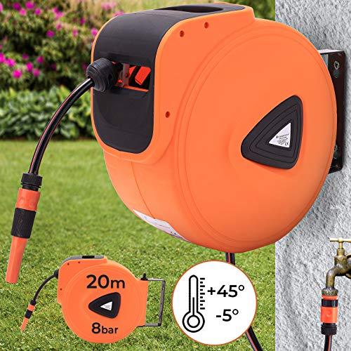 Schlauchtrommel - 10m, 20m oder 30m, automatisch, 3/4 Zoll, 180° schwenkbar, inkl. Sprühdüse, Wandmontage - Schlauchaufroller, Wasserschlauch, Gartenschlauch Aufroller, Gartenschlauchtrommel (20 m)