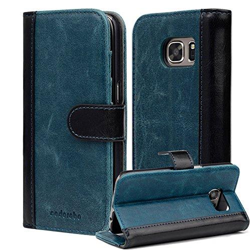 Cadorabo Hülle für Samsung Galaxy S7 - Hülle in BLAU SCHWARZ – Handyhülle mit Standfunktion und Kartenfach im zweifarbigen Design - Case Cover Schutzhülle Etui Tasche Book