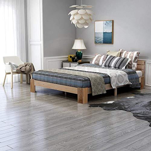Takefuns Cama doble de madera con cabecero de cama de madera con somier – 200 x 140 cm madera maciza FSC, se puede utilizar como cama de pino, incluye respaldo (natural)