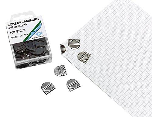 Wedo 112154 Eckenklammern (aus glanzveredeltem Metall in SB-Klarsichtdose) 100 stück, silber