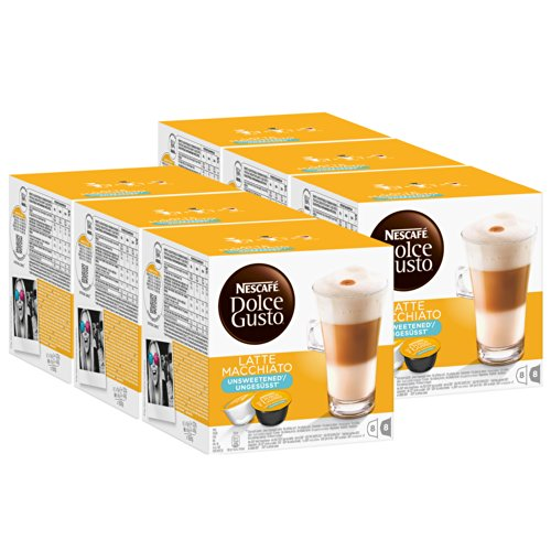 Nescafé Dolce Gusto Latte Macchiato Ungesüßt, Kaffee, Kaffeekapsel, 6er Pack, 6 x 16 Kapseln (48 Portionen)