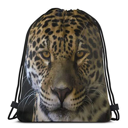 Perfect household goods Jaguar Beast Look Rucksack mit Kordelzug, leicht, für Fitnessstudio, Reisen, Yoga, Freizeit, Snackpack, Schultertasche für Wandern, Schwimmen, Strand
