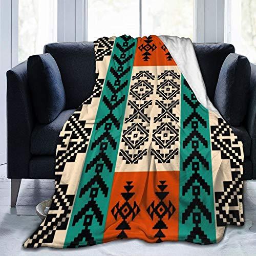 DPQZ Manta tribal sudoccidental étnica nativa americana ultra suave franela de forro polar mantas para todas las estaciones acogedoras mantas de felpa para sala de estar o dormitorio 132 x 101 cm