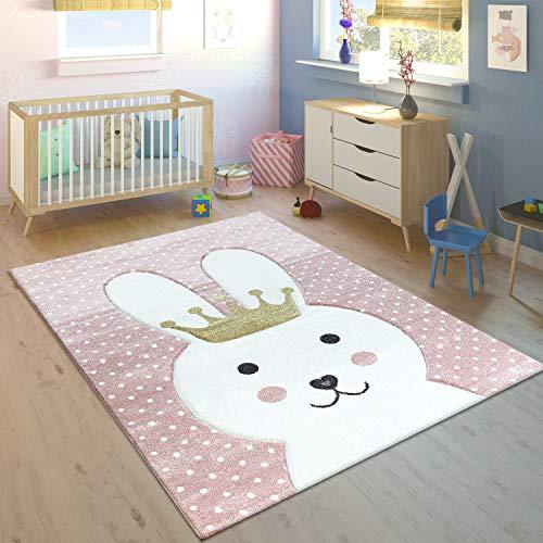 Kinderteppich Kinderzimmer Konturenschnitt Gepunktet Hase Krone Pastell Rosa, Grösse:120x170 cm