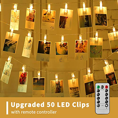 XTF2015 50 LED Photo Clips String Lights, Battery Operated 8 Modes Fairy String Lights with Clips for Wedding Party Bedroom Decoration to Hang Picture(Photo Clips String Lights 50 LED)