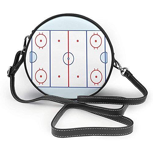 TURFED Hombro con césped PU bolso redondo Hockey sobre hielo Hockey sobre césped en tonos rojo y gráfico Esquema de Eventos del Deporte bolso rojo pálido