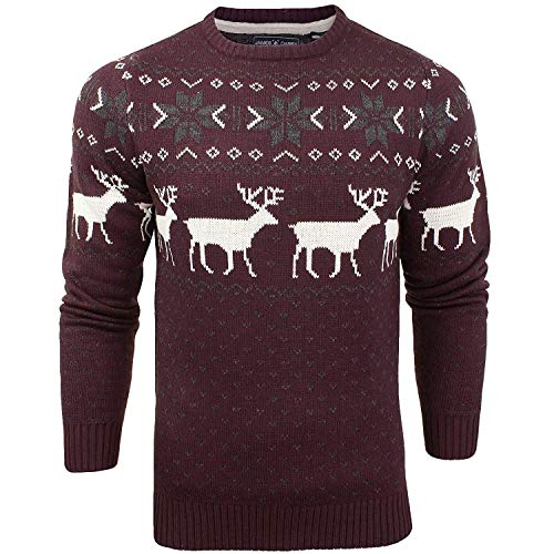James Darby Mens Nordic Stag Festive Christmas Jumper - Burg - L Burgundy