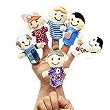Juego de 6 marionetas de dedo de tela aterciopelada para niños