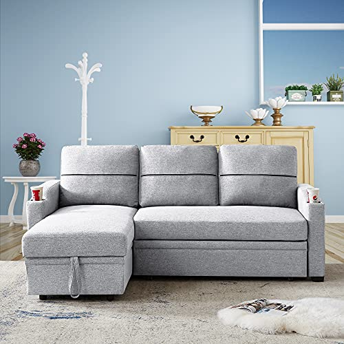 Melpomene Convertible Sectional Sofa Couch Pull Out Bed Sleeper Sofa with Storage 3 Seater L Shaped Couch Linen Upholstered Fabric Corner Sofa with 2 Cupholders for Living Room (Grey)