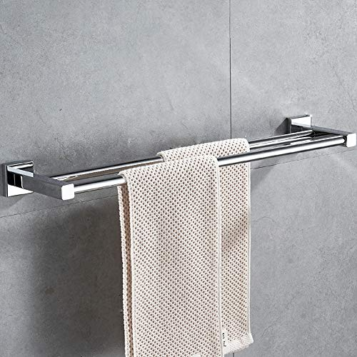 HONPHIER® Handtuchhalter Chrom Handtuchstangen Edelstahl Doppelstange Handtuchstange Bad 60cm, Handtuchhalter für Badezimmer Küchen Toilette