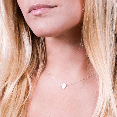 Minimal White Opal Hamsa Choker Necklace Designer Handmade Sterling Silver 925 Collar With Tiny product image