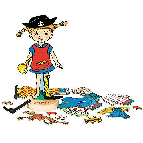 Micki & Friends 44380700 Pippi Langstrumpf magnetische Anziehpuppe 22 Teile aus Holz - Magnetspiel Magnet Holzspielzeug Kinder - ab 3 Jahren - Astrid Lindgren