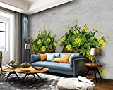 Papel Pintado Cesta De Bambú Con Flores Amarillas Retro Tela No Tejida Salon Fotomurales Decorativos Pared