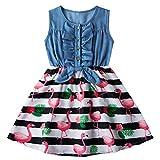 AIDEAONE Vestido de niña con estampado floral sin mangas de verano de 2 a 9 años, rosa claro, 130 cm